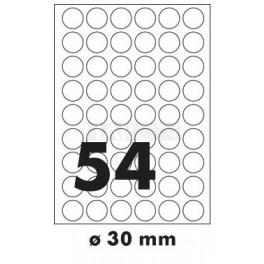 Tisk samolepících etiket 30 mm kruhové