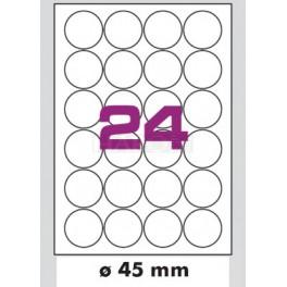 Tisk samolepících etiket 45 mm kruhové